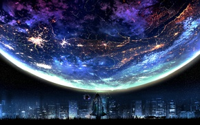 Wallpaper art, the city, planet, fiction, lights