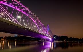 Picture city, colorful, light, bridge, night, Putrajaya, malaysia, wawasan, Serial Wawasan Bridge, seri, putrajaya