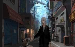 Picture girl, the city, dog, anime, art, jittsu