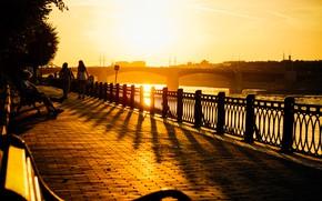 Picture city, light, river, bridge, sunset, young, evening, sun, street, mood, spring, horizon, wind, town, urban, …