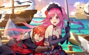 Picture girl, ship, guy, Romantic Saga of Beauty & Devil
