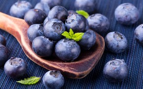Wallpaper berry, blueberries, spoon