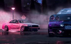 Wallpaper Purple, Drift, Car, Skyline, Nissan, R34, Pink