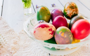 Picture holiday, eggs, Easter, lace, napkin, Easter, eggs, vase
