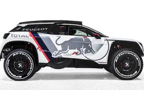 Picture Auto, White, Machine, Speed, Background, Peugeot, Red Bull, Rally, Dakar, Dakar, SUV, Rally, DKR, 3008, …