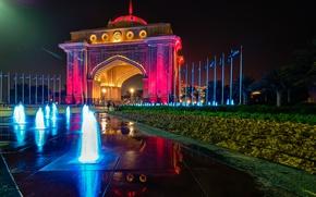 Picture night, lights, fountain, the hotel, UAE, Abu Dhabi, Emirates Palace