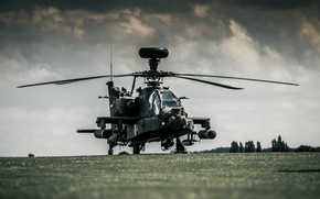Picture Boeing, Apache, AH-64D, dark sky, Royal Netherlands Air Force, attack helicopter, Boeing AH-64D Apache, AH-64D …