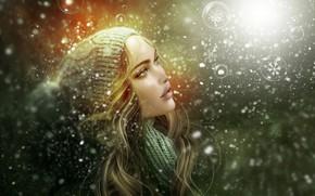 Wallpaper snowflakes, girl, face, bubbles, portrait
