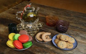 Picture tea, cookies, cakes, macaroon