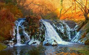 Wallpaper Waterfall, Autumn, Fall, Autumn, Waterfall