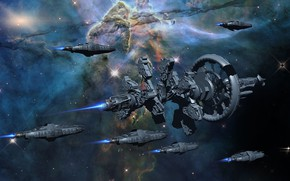 Picture space, ships, stars, Armada, Space Travel