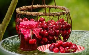 Picture basket, berry, Cherry, Jam Cherry