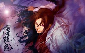 Picture attack, blood, katana, samurai, art, Demons pale cherry, Hakuouki Shinsengumi Kitano, Pilgrimage Chop Toshizou, Yone …