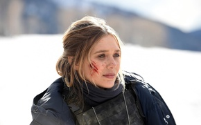 Wallpaper cinema, film, blood, blonde, girl, police, movie, Wind River, bulletproof vest, snow, Elizabeth Olsen