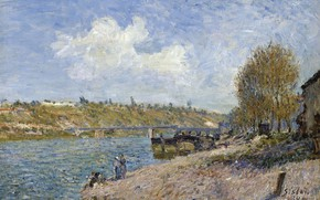 Picture bridge, river, picture, Alfred Sisley, Alfred Sisley, Landscape on the River Bank