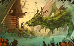 Picture house, dragon, swamp, fantasy, old, by Yakovlev-vad