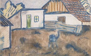 Picture out of the city, Expressionism, Otto Mueller, ca192, Hauser with an oven and a pig