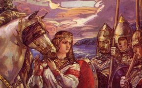 Picture woman, armor, shield, warriors, Klimenko Andrew, Horse of destiny