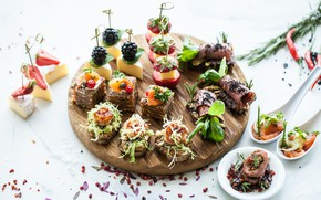 Wallpaper strawberry, BlackBerry, fish, spices, canapés, fruit, cheese, snacks, sandwiches
