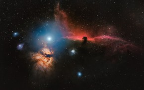 Wallpaper nebula, space, Flame, Horse