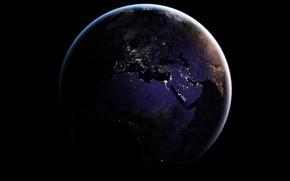 Wallpaper lights, planet, Africa, The Mediterranean sea, Earth