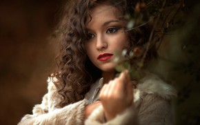 Picture girl, face, branch, makeup, curls