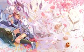Wallpaper cat, girl, flowers, birds, apples, tenderness, books, hare, dog, anime, petals, art, chair, fruit, fujita ...