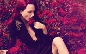 Picture roses, red hair, Sasha Pivovarova, Russian supermodel