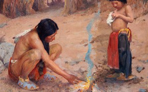 Picture the fire, Bonfire, Eanger Irving Couse, (Fire), mother and son