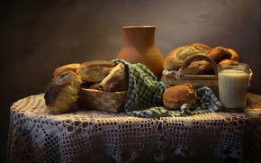 Picture glass, table, basket, towel, milk, bread, pitcher, bread, cakes, tablecloth