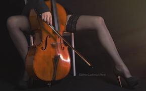 Wallpaper music, girl, cello