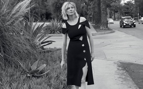 Picture road, Kirsten Dunst, street, figure, dress, actress, hairstyle, blonde, black and white, the sidewalk, photoshoot, …