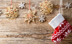 Picture decoration, snowflakes, background, holiday, sock, Christmas, New year