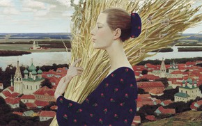 Picture river, woman, hay, town, firewood, temples, 1992, Andrey REMNEV, Province