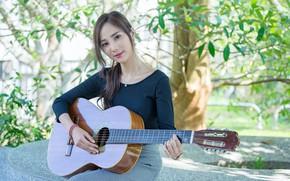 Picture summer, girl, music, guitar, cutie