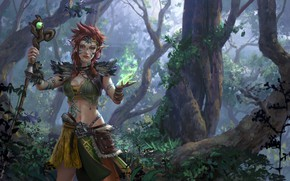 Picture forest, girl, vegetation, staff, guardian