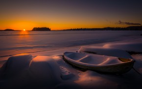 Picture winter, snow, night, boat