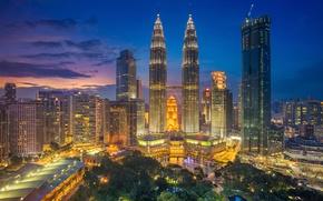 Wallpaper panorama, home, Kuala Lumpur, Malaysia, tower, skyscraper