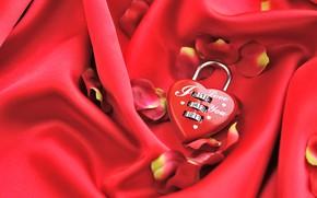 Picture love, red, castle, heart, petals, hearts, fabric, red, love, romantic, bokeh, bokeh, Valentine's Day, Valentine's …