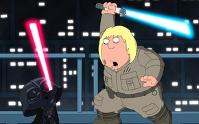 Picture fight, cartoon, weapon, Star Wars, light saber, pearls, jedi, Darth Vader, Family Guy, Sith Lord, ...