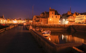 Picture bridge, France, home, Honfleur, lights, boats, channel, night, lights, river