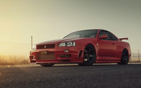 Wallpaper GTR, RED, Nissan, R34