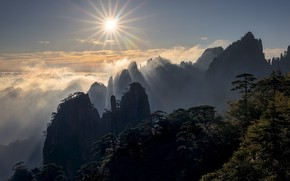 Picture the sun, clouds, trees, mountains, sunrise, dawn, China, morning, China, Anhui, Anhui, Yellow mountain, Huangshan …