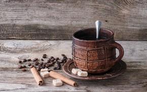 Wallpaper coffee beans, coffee, drink, sugar, cinnamon