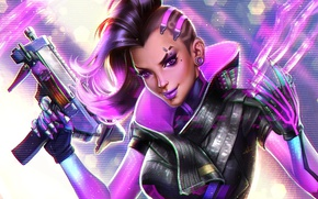 Picture girl, face, smile, gun, weapons, art, hairstyle, blizzard, overwatch, sombra
