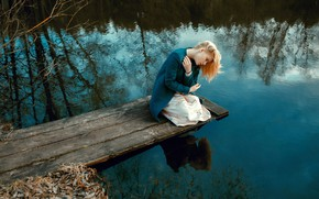 Picture reverie, nature, pose, reflection, mood, makeup, dress, hairstyle, blonde, river, sitting, Natali, coat, the water, …
