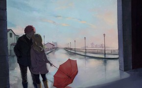 Picture street, romance, umbrella, art, pair, a couple