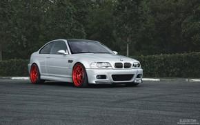 Picture forest, asphalt, BMW, BMW, grey, E46