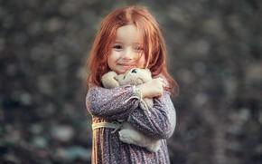 Wallpaper smile, toy, girl, red, baby, child, Darya Stepanova