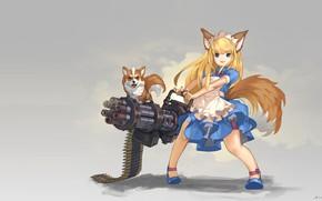 Picture weapons, girl, dog, art, anime, ears, hinew KIM, Gatling Dog!